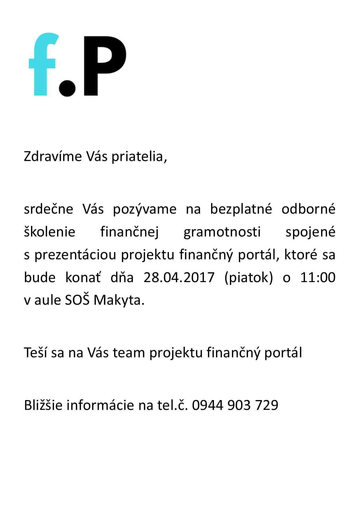 Odborné školenie finančnej gramotnosti @ aula SOŠ Makyta